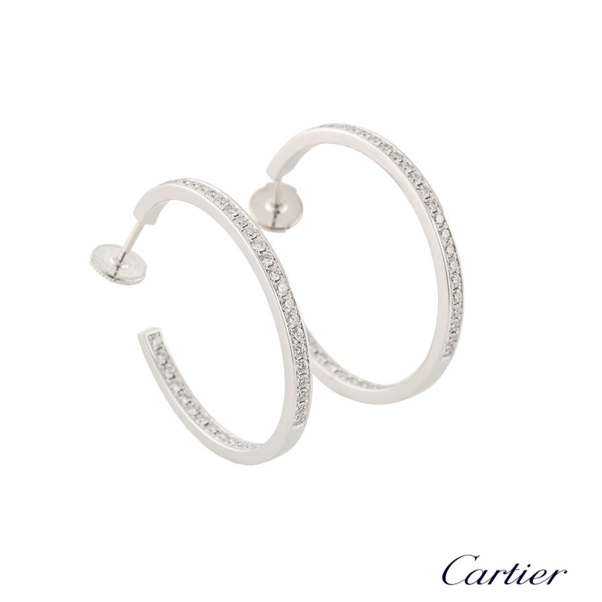 Cartier White Gold Diamond Hoop Earrings